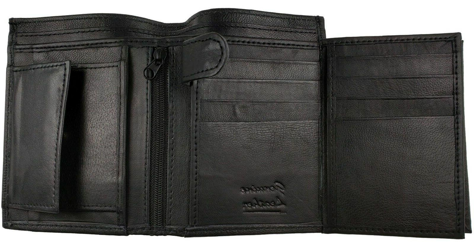 AG Wallets Leather Trifold Hipster Card And Black