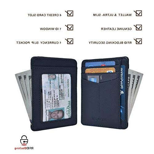 Front Wallets for Men RFID - Leather Minimalist Credit Gift Box