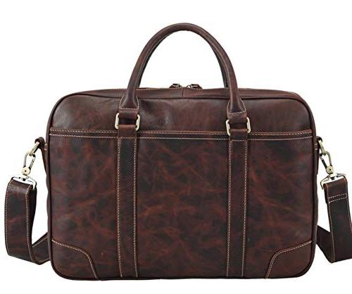 genuine cow leather business briefcase