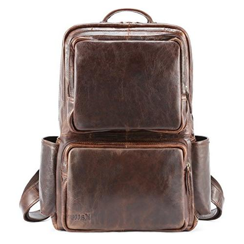 genuine leather backpack business daypack