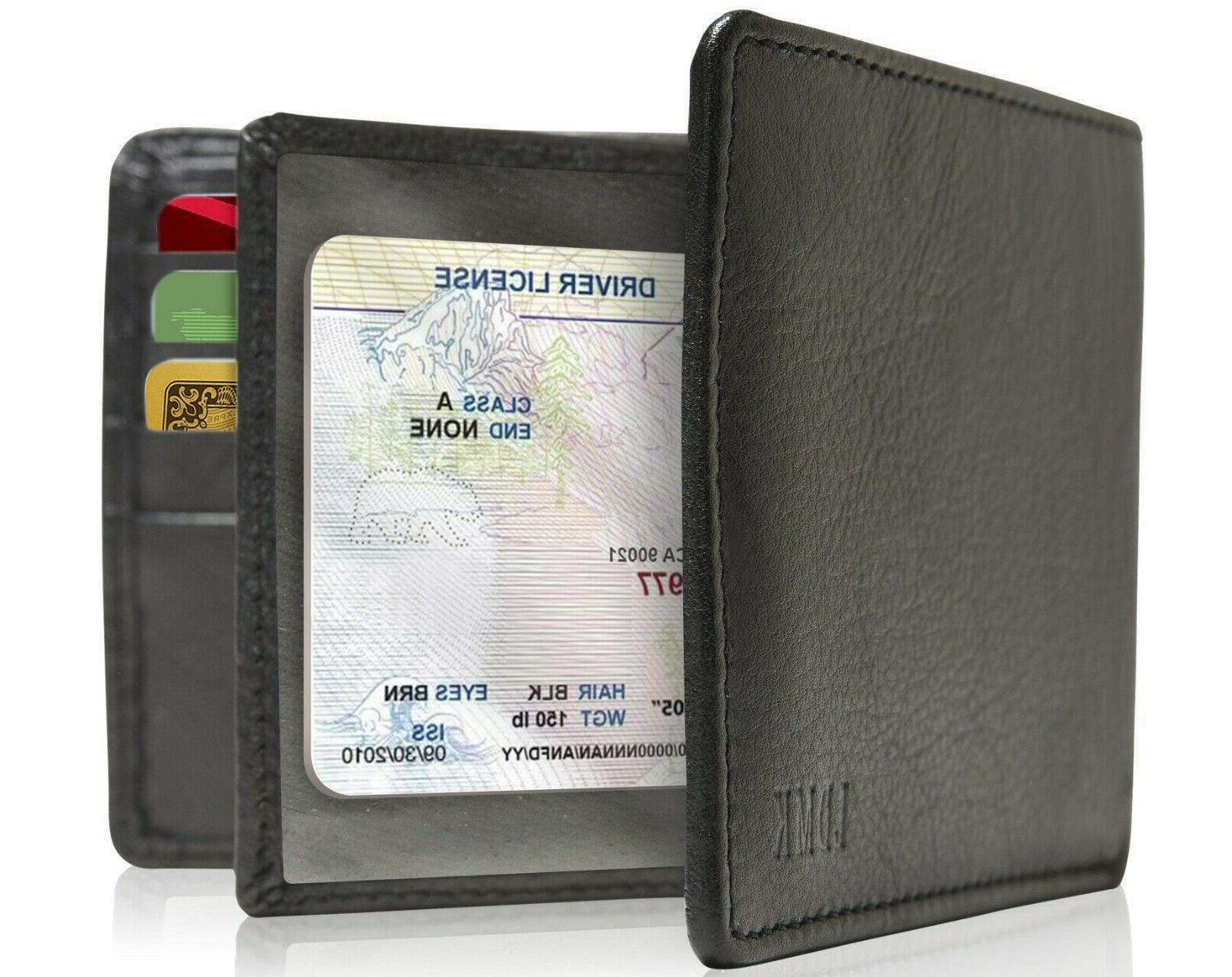 genuine leather bifold mens wallet with middle
