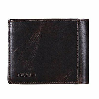 genuine leather bifold wallet for men portable