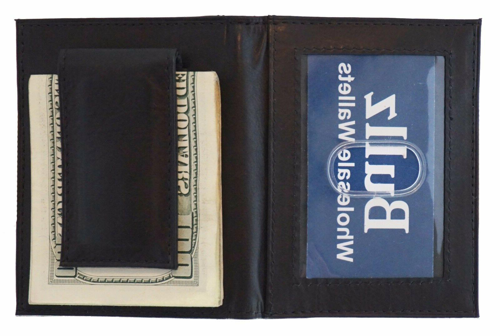Mens Leather Clip Slim Brown Credit Holder