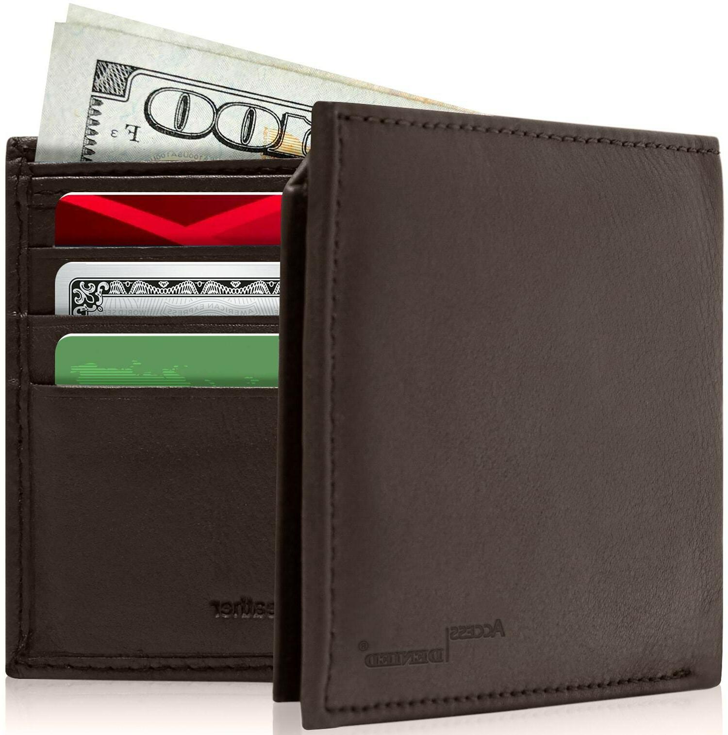 genuine leather rfid blocking bifold wallet
