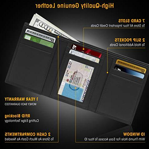 Genuine Wallets Men - Trifold Wallet Window RFID Blocking,Smooth