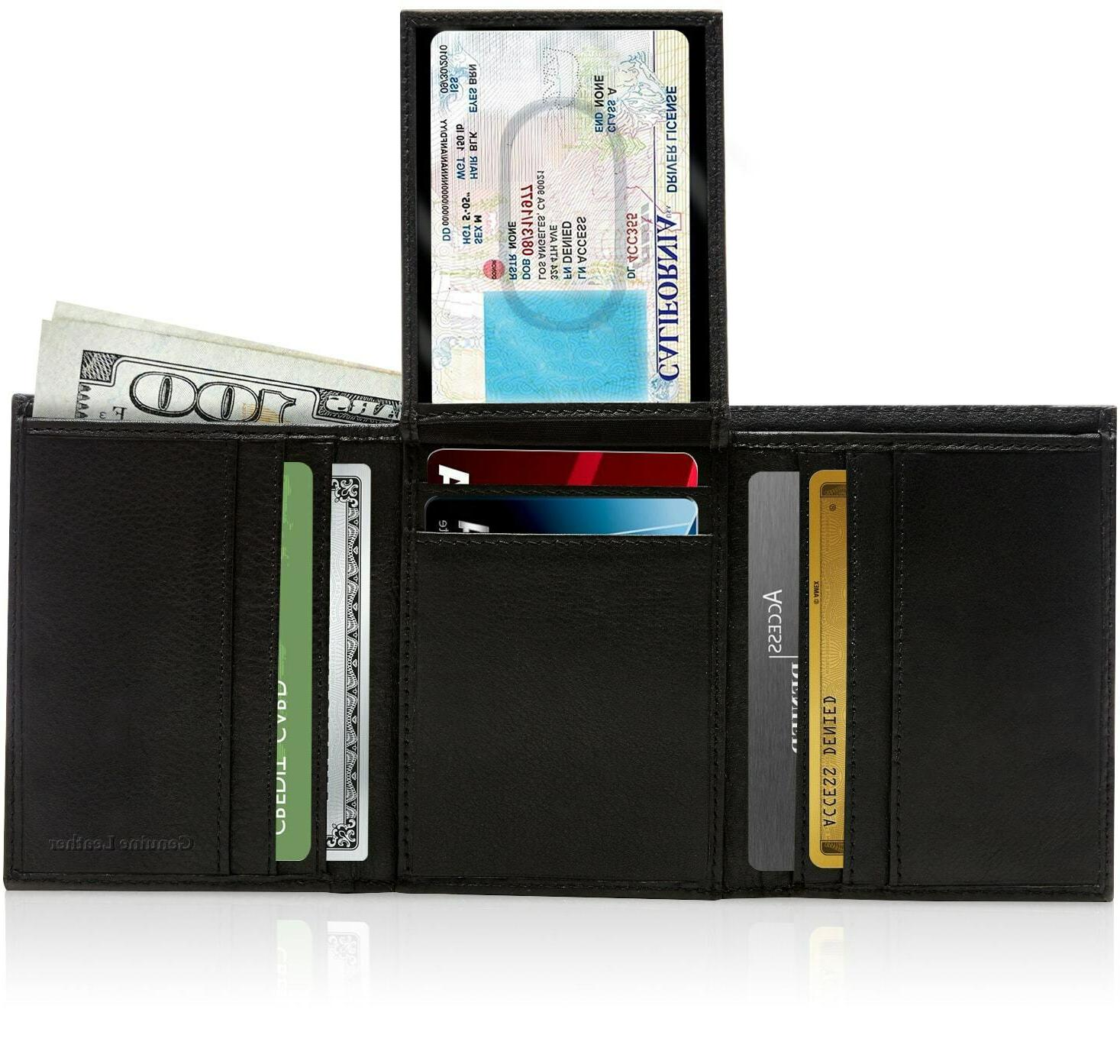 genuine leather wallets for men trifold wallet