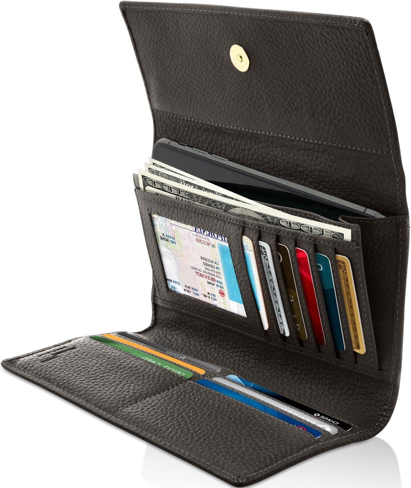 genuine leather wallets for womens ladies trifold