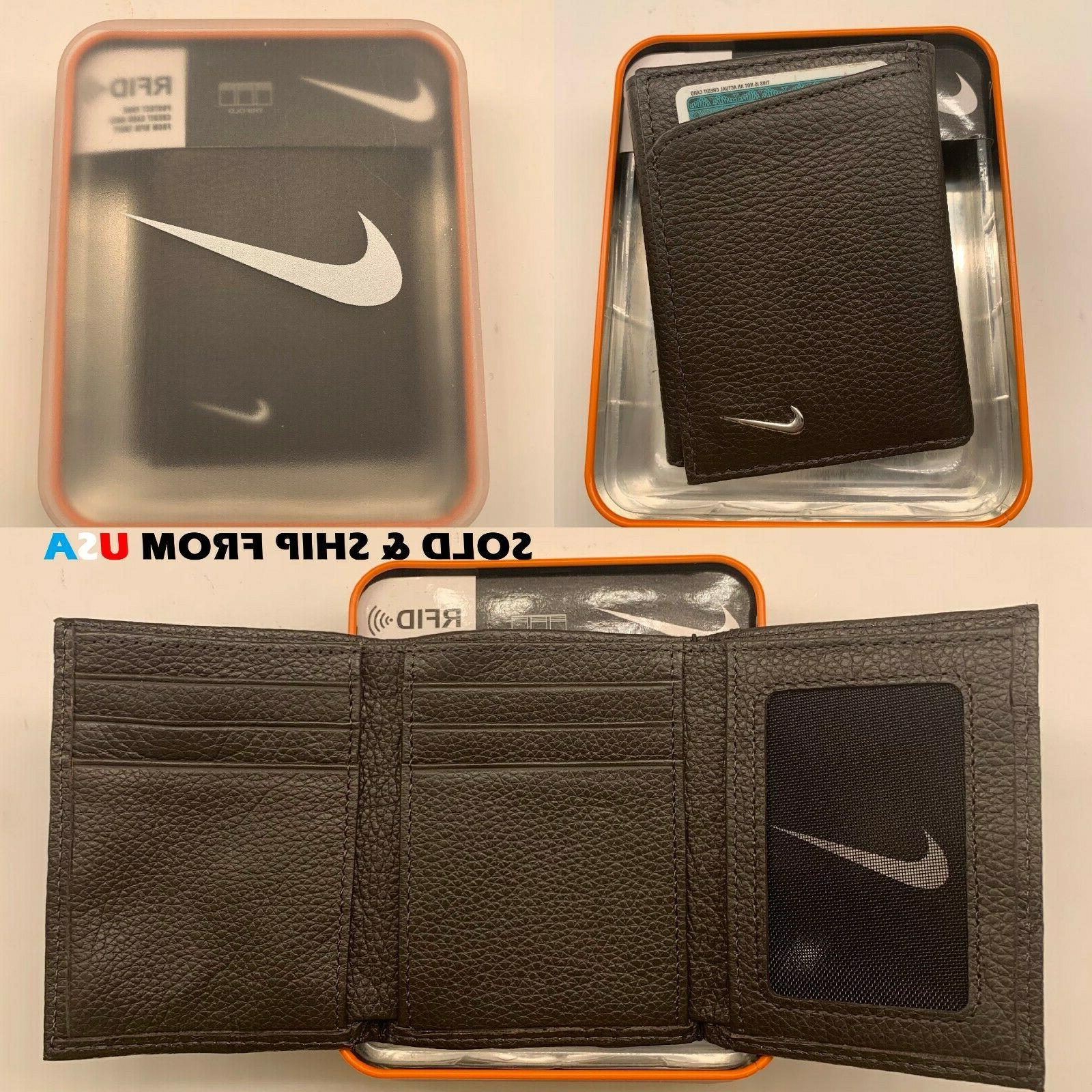 NIKE MENS TRIFOLD PEBBLE GRAIN GENUINE LEATHER WALLET