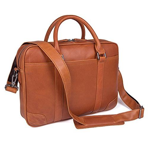 grain cow leather business briefcase
