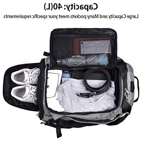 Gym Duffle Travel Bag for Men Women Bag Backpack with Compartment Overnight 40L Grey