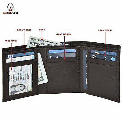 Estalon Handmade Mens Blocking Genuine Trifold Multi