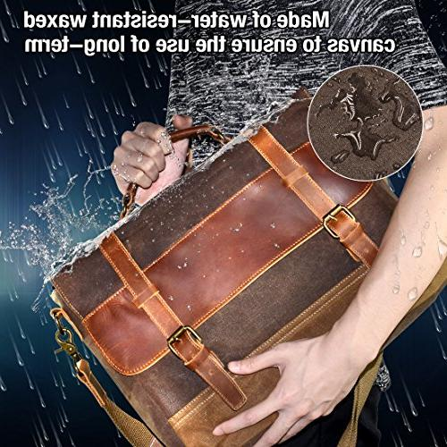 NEWHEY Bag Waterproof Laptop Inch Briefcase Case Waxed Canvas Genuine Leather Large Shoulder College Brown