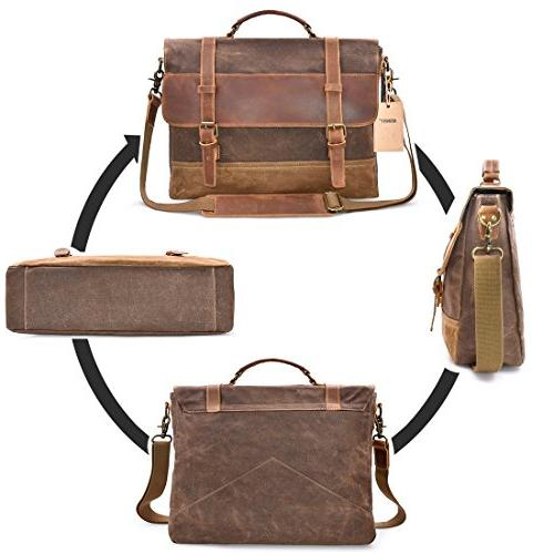 NEWHEY Messenger Waterproof Briefcase Waxed Canvas Large Shoulder College Brown