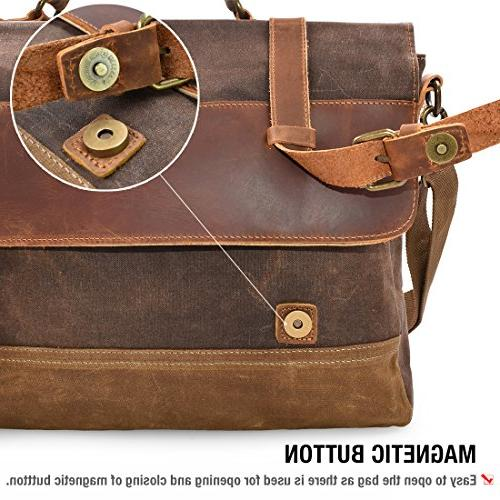 NEWHEY Mens Waterproof Laptop Inch Briefcase Case Vintage Retro Waxed Canvas Genuine Large College Brown