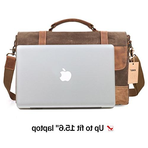 NEWHEY Waterproof Laptop 15.6 Briefcase Vintage Waxed Canvas Large Shoulder College