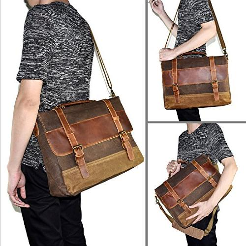 NEWHEY Bag Waterproof Laptop Inch Briefcase Case Retro Waxed Leather College