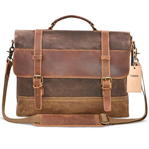 NEWHEY Mens Bag Laptop Briefcase Case Waxed Leather Large Satchel College