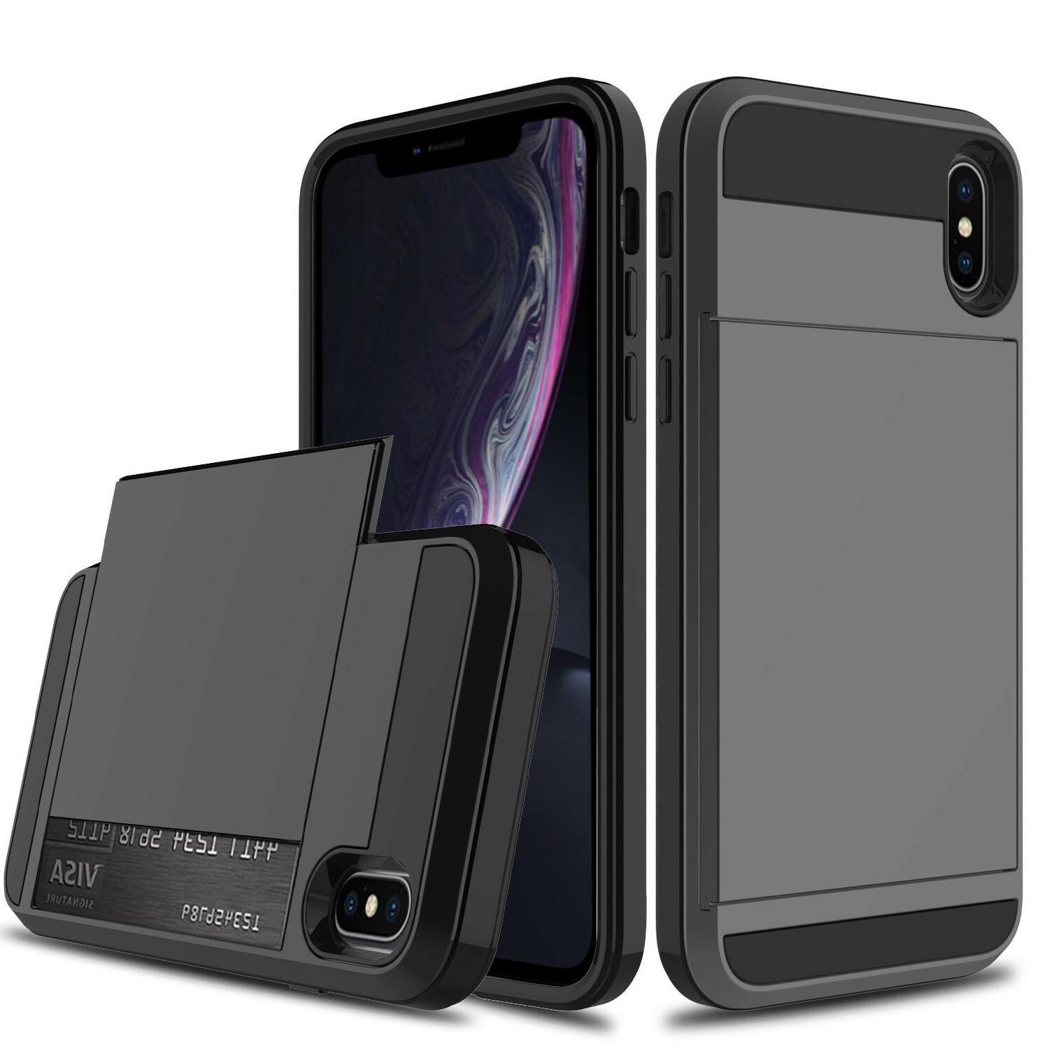 For iPhone Shockproof Card Pocket Protector