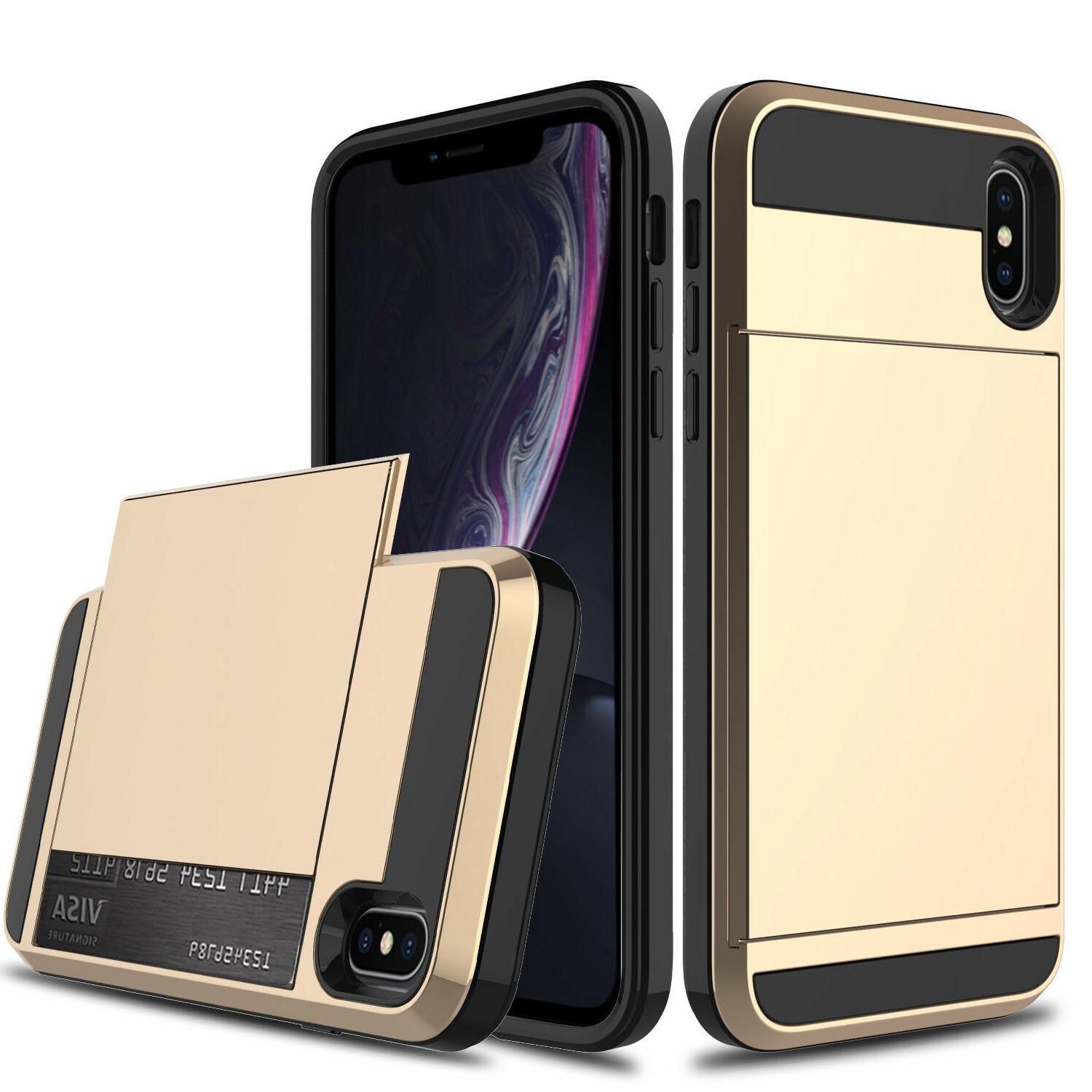 For iPhone Shockproof Card Wallet Pocket Screen Protector