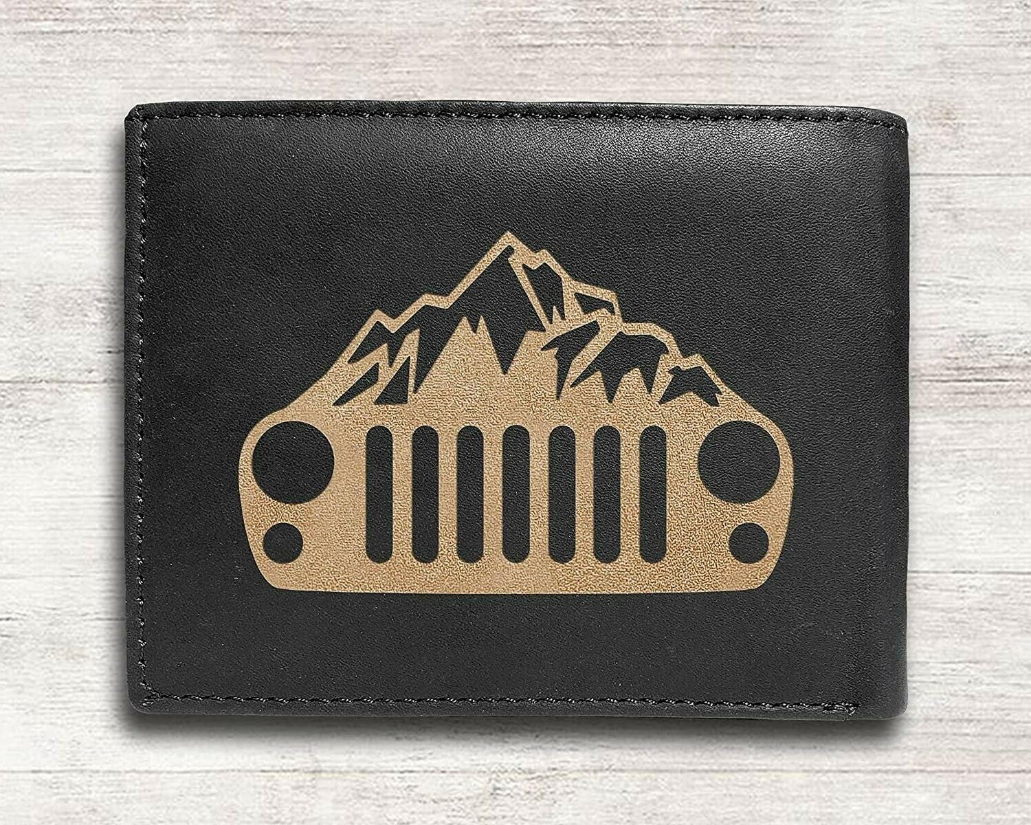 Jeep Wrangler Cowhide Leather Engraved Engraving Wallet NEW