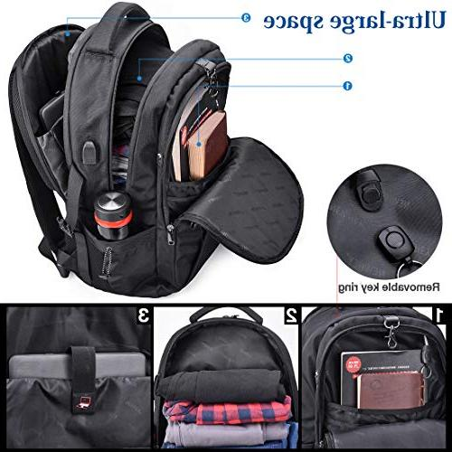 Laptop 17.3 Travel Anti-theft Waterproof Backpack Large Capacity Gaming USB Port Men