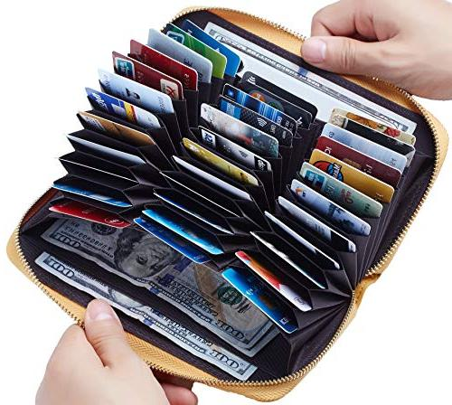 large capacity credit card wallet leather rfid