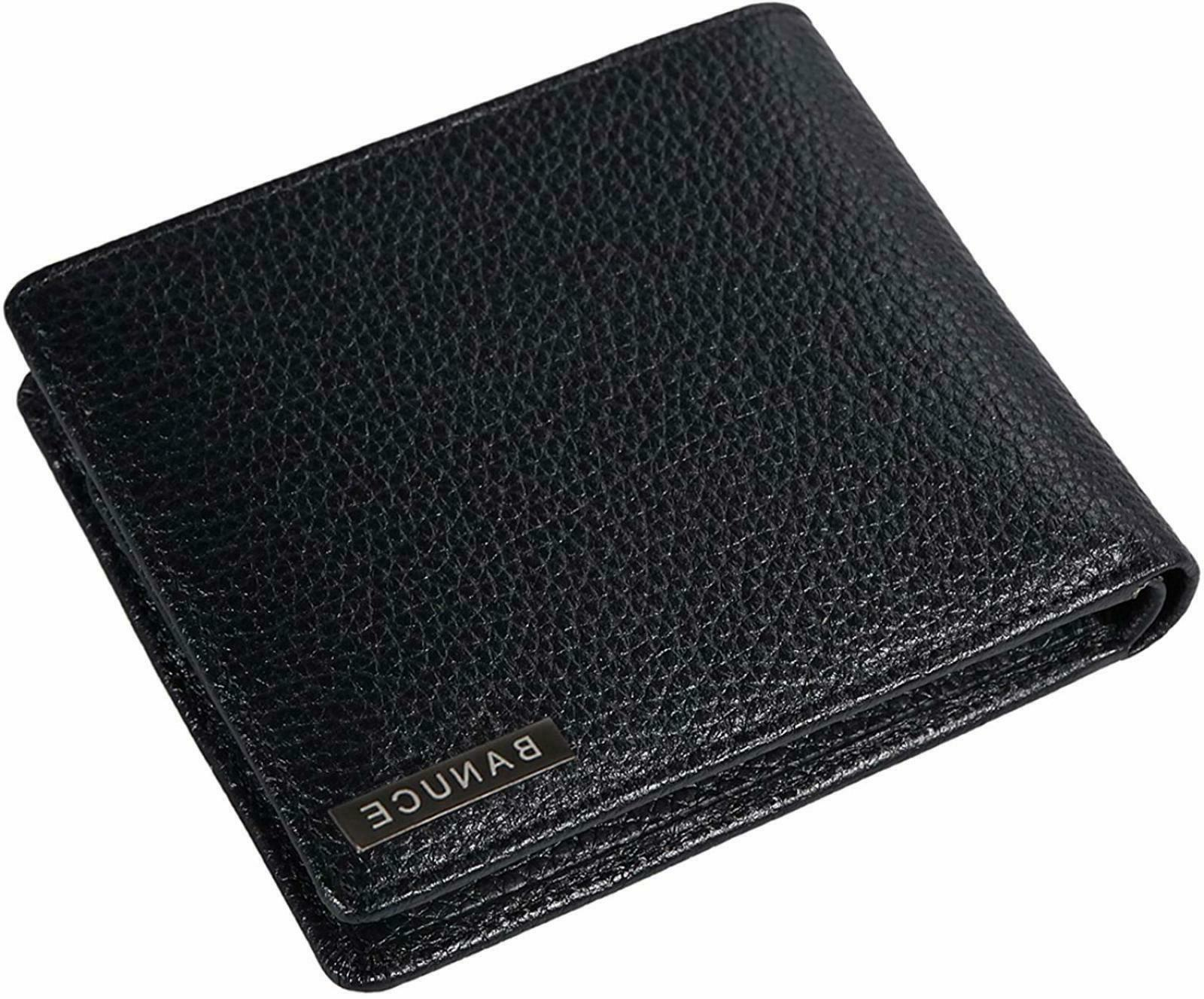 Banuce Leather Bifold Wallet for Men Large Capacity Purse ID
