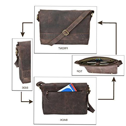"""Leather Messenger for - Office 16"""" Professional College Womens"""