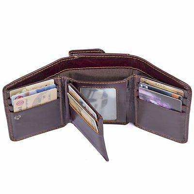 leather rfid trifold wallet