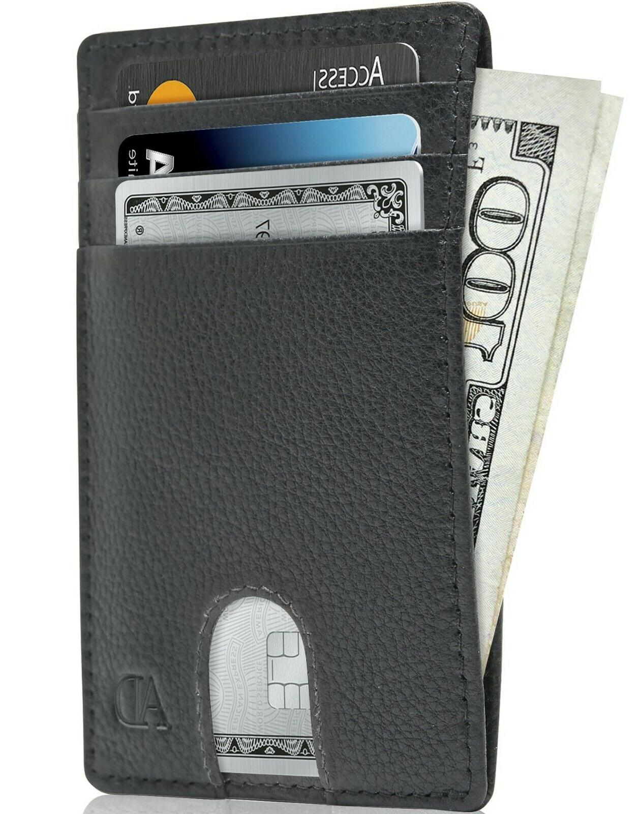 leather slim minimalist front pocket cardholder wallets