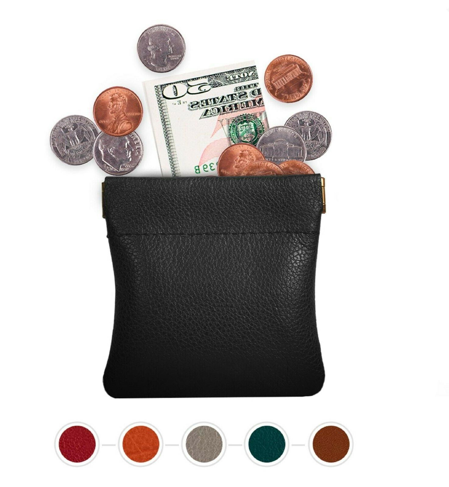 Leather Squeeze Coin Pouch Coin Purse Change Holder For Mens