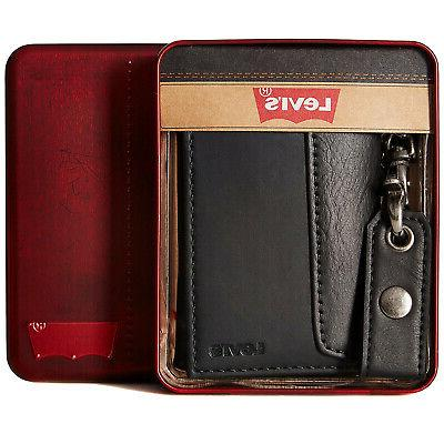 leather trifold id credit card