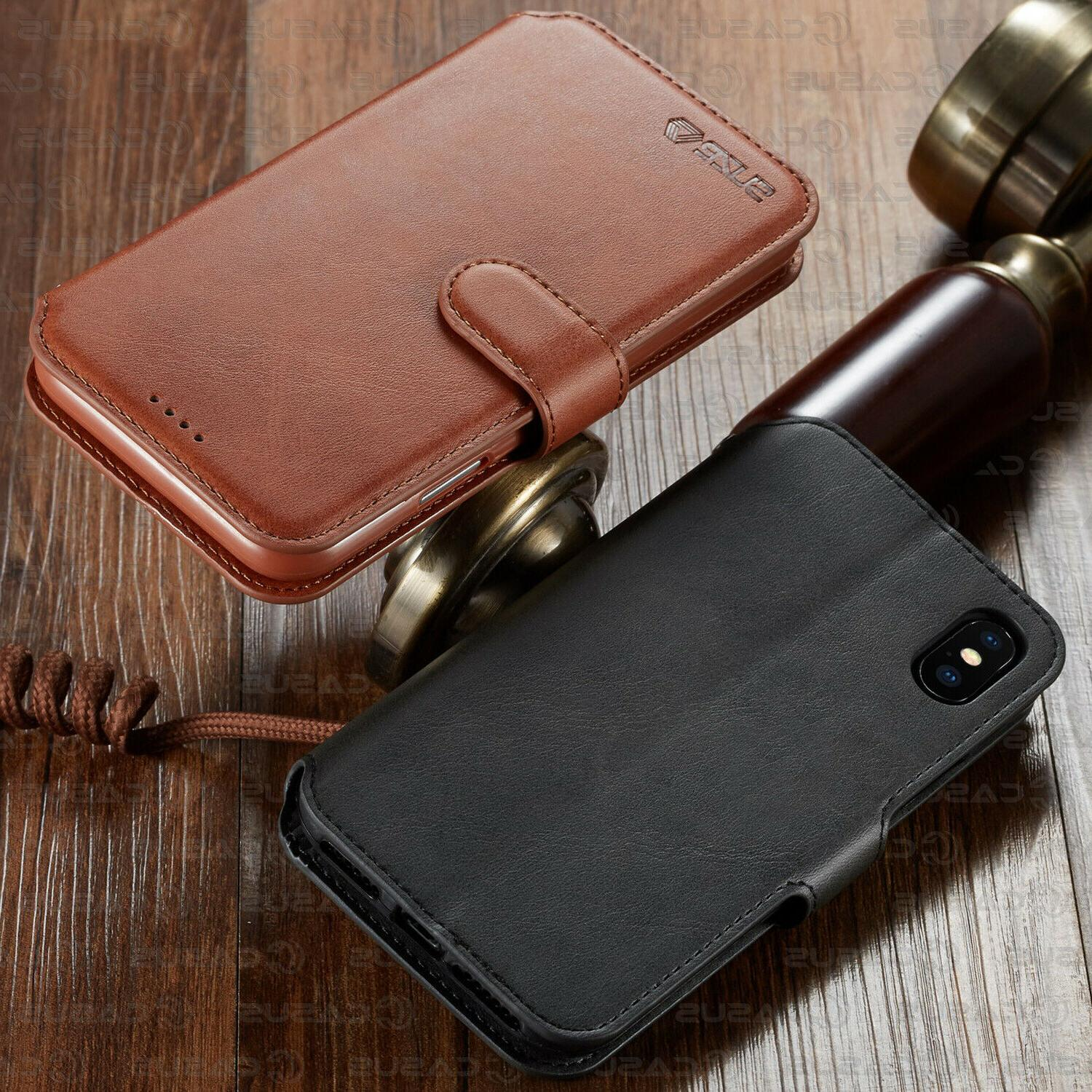 Leather Wallet Flip Holder iPhone XR XS 8/6