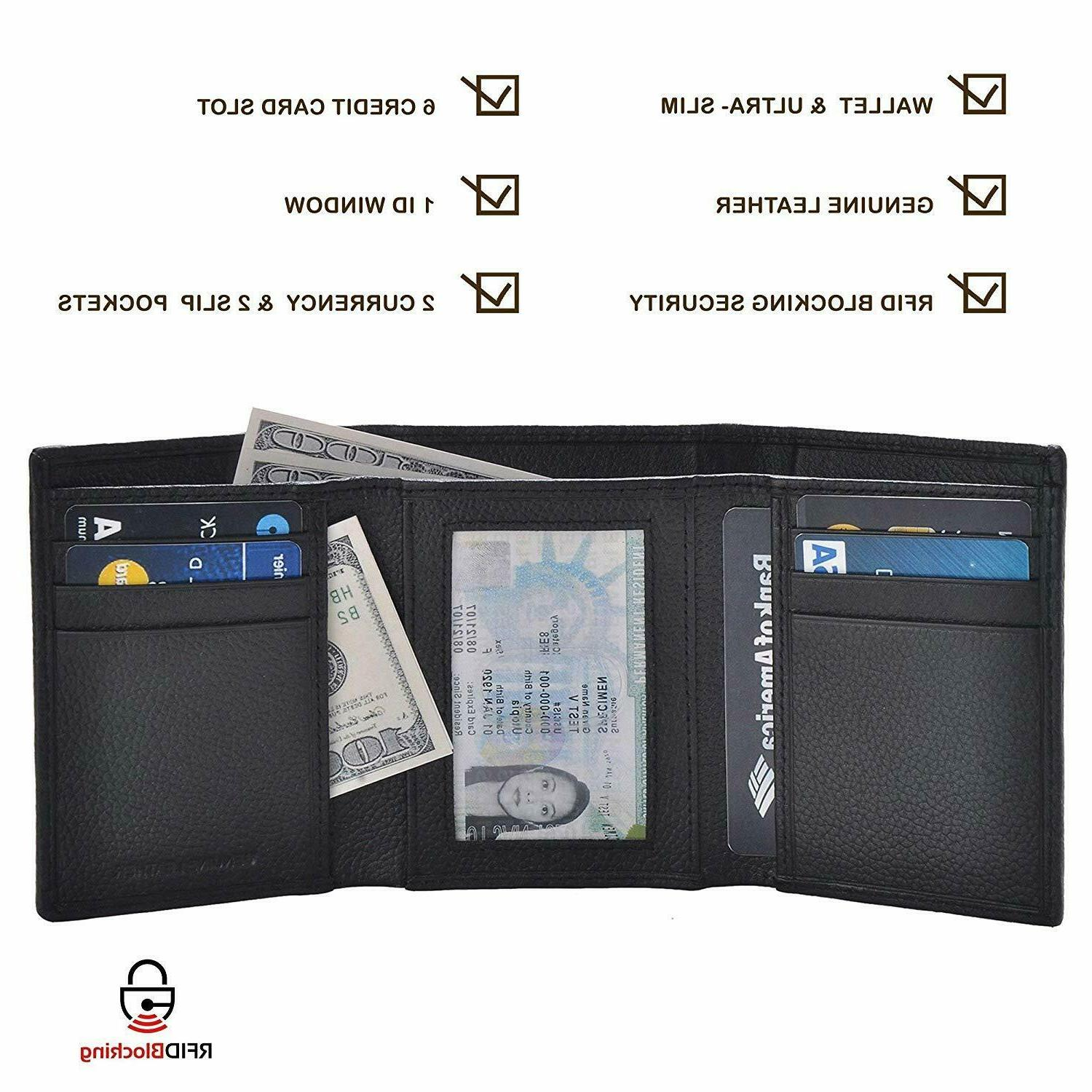 Leather wallets men with rfid blocking wallet,3.5x4.4x0.75