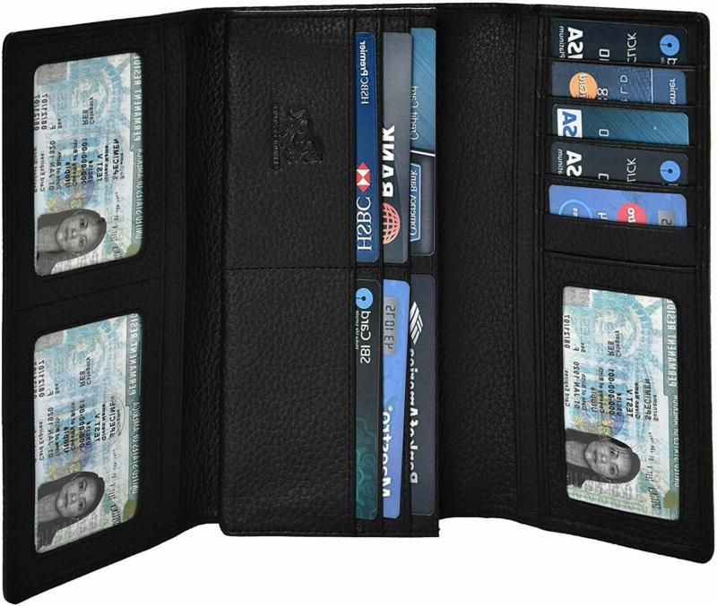 Leather Wallets For Women - Rfid Blocking Checkbook Wallet W