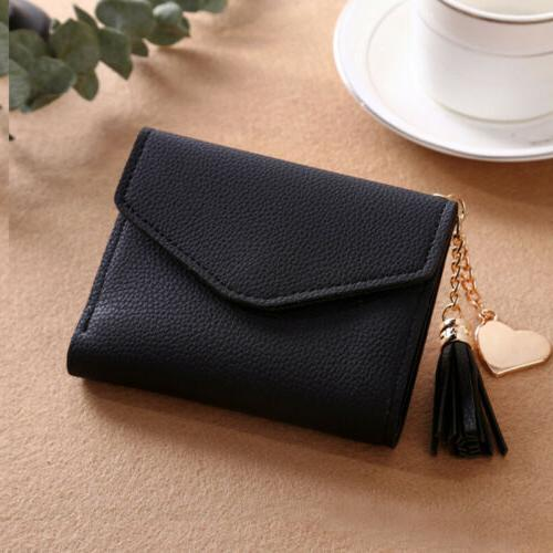 Leather Wallets Trifold Solid Cute Case Simple Small Handbag Purse