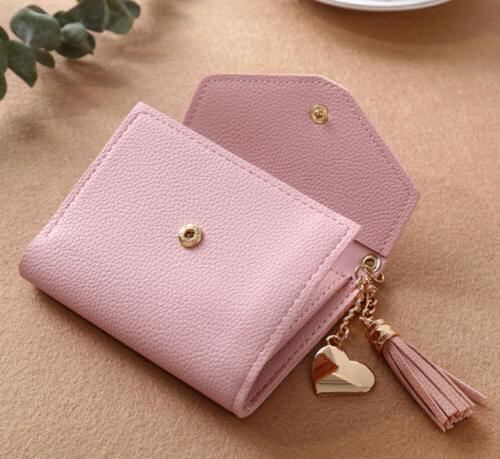 Leather Wallets Trifold Womens Solid Simple