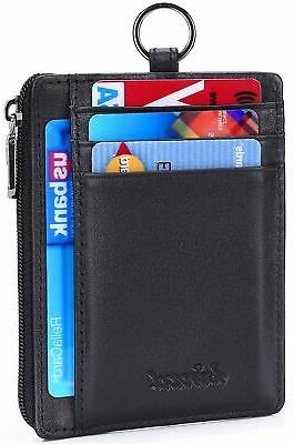 leather zip credit card holder wallet keychain