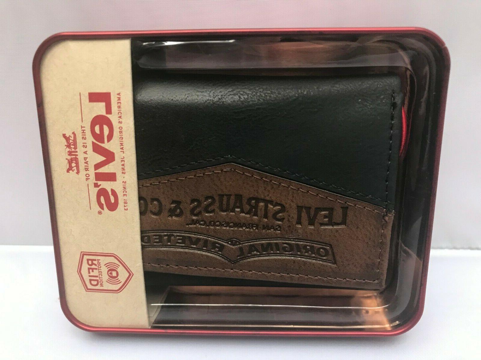 Levi's Men's Wallet Black/Brown Blocking