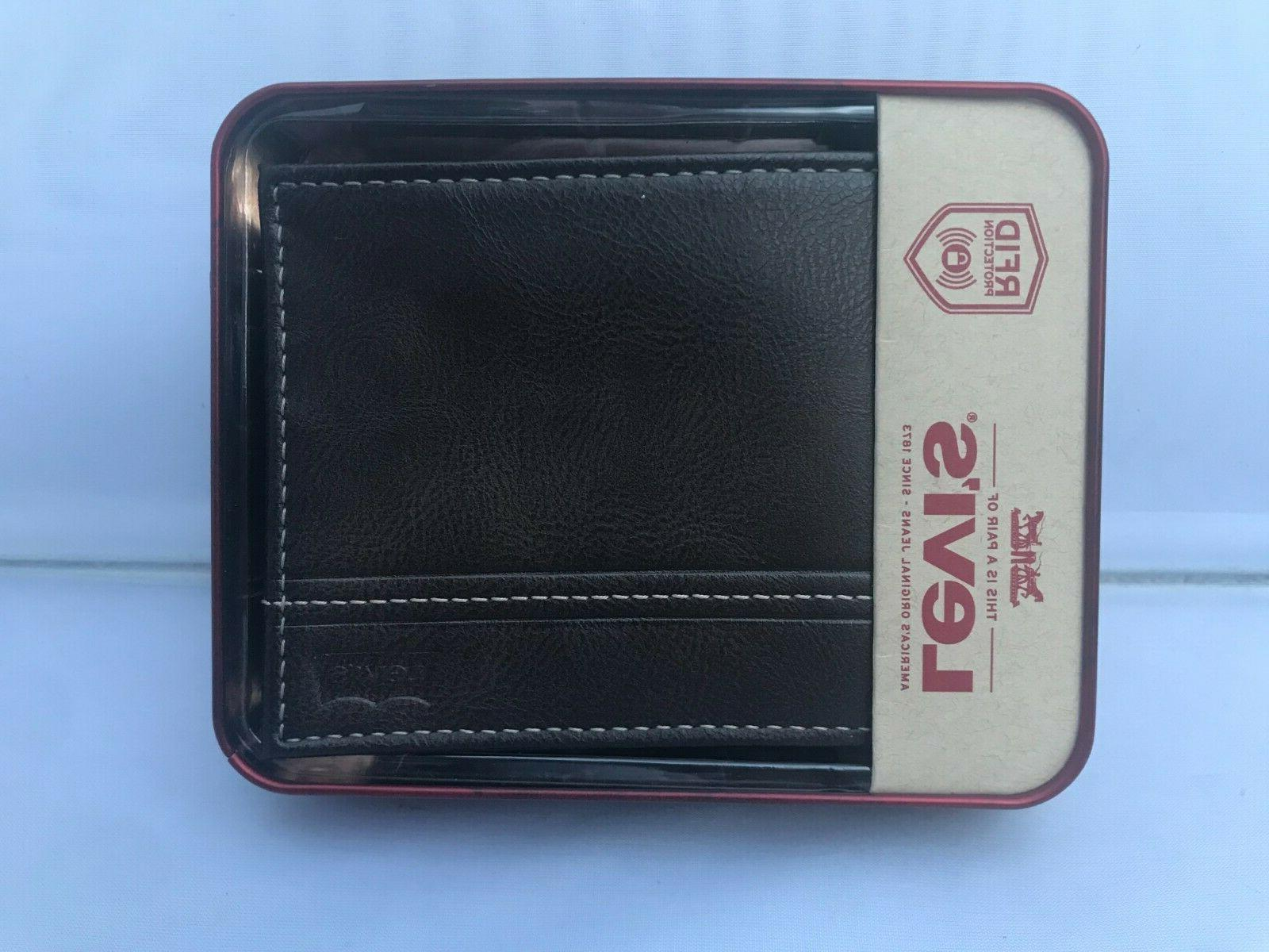 levi s men s bifold leather wallet