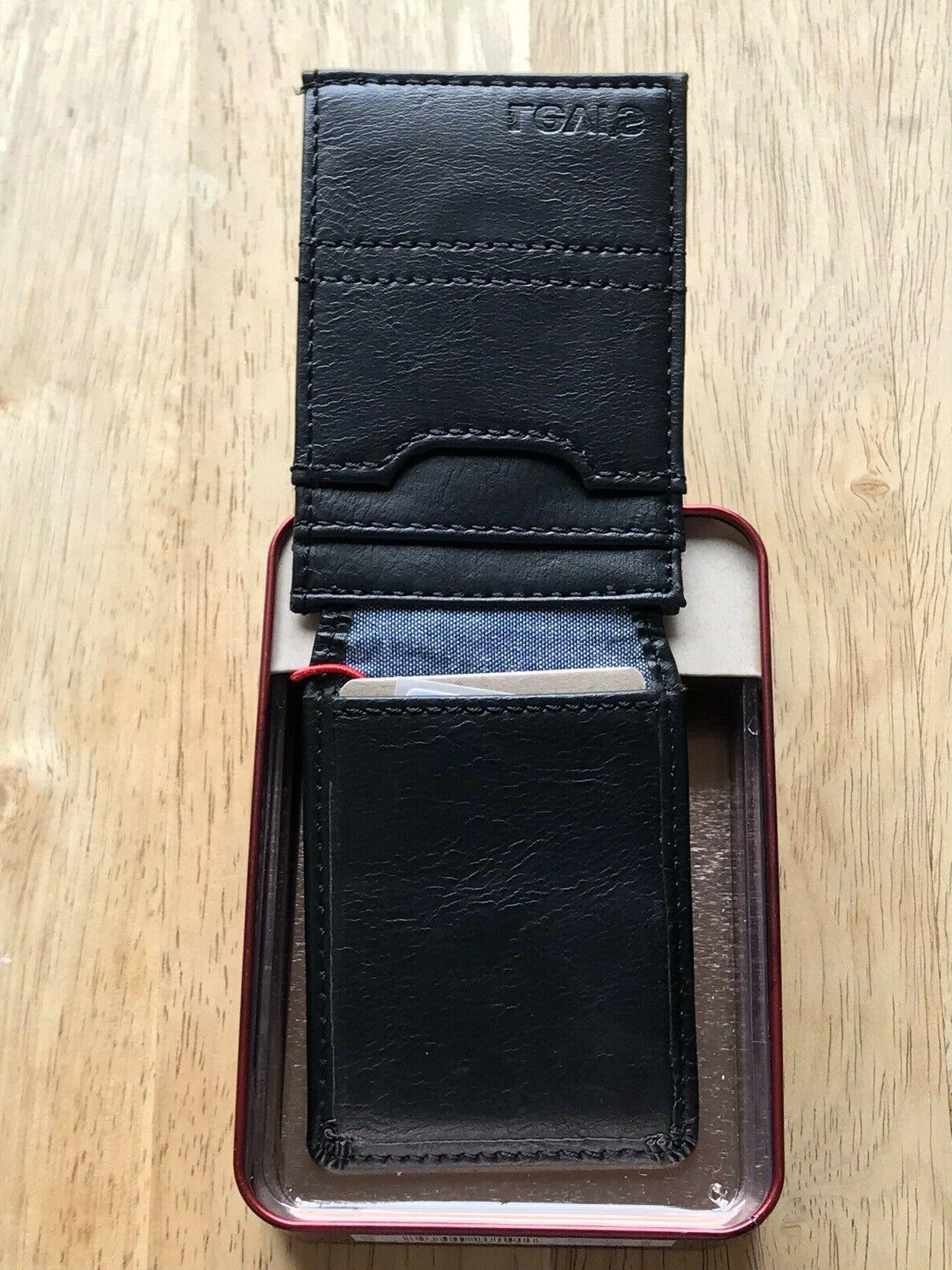 Levi's Mens Leather Slim Front ID w/ Magnetic