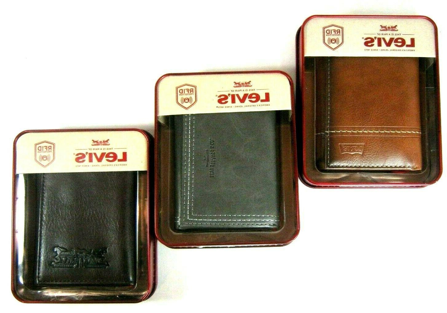 levi s mens trifold security leather wallet