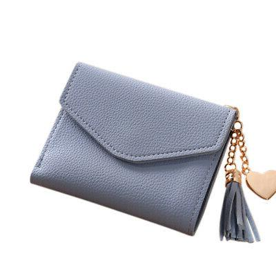 light blue women small wallets lady tassel