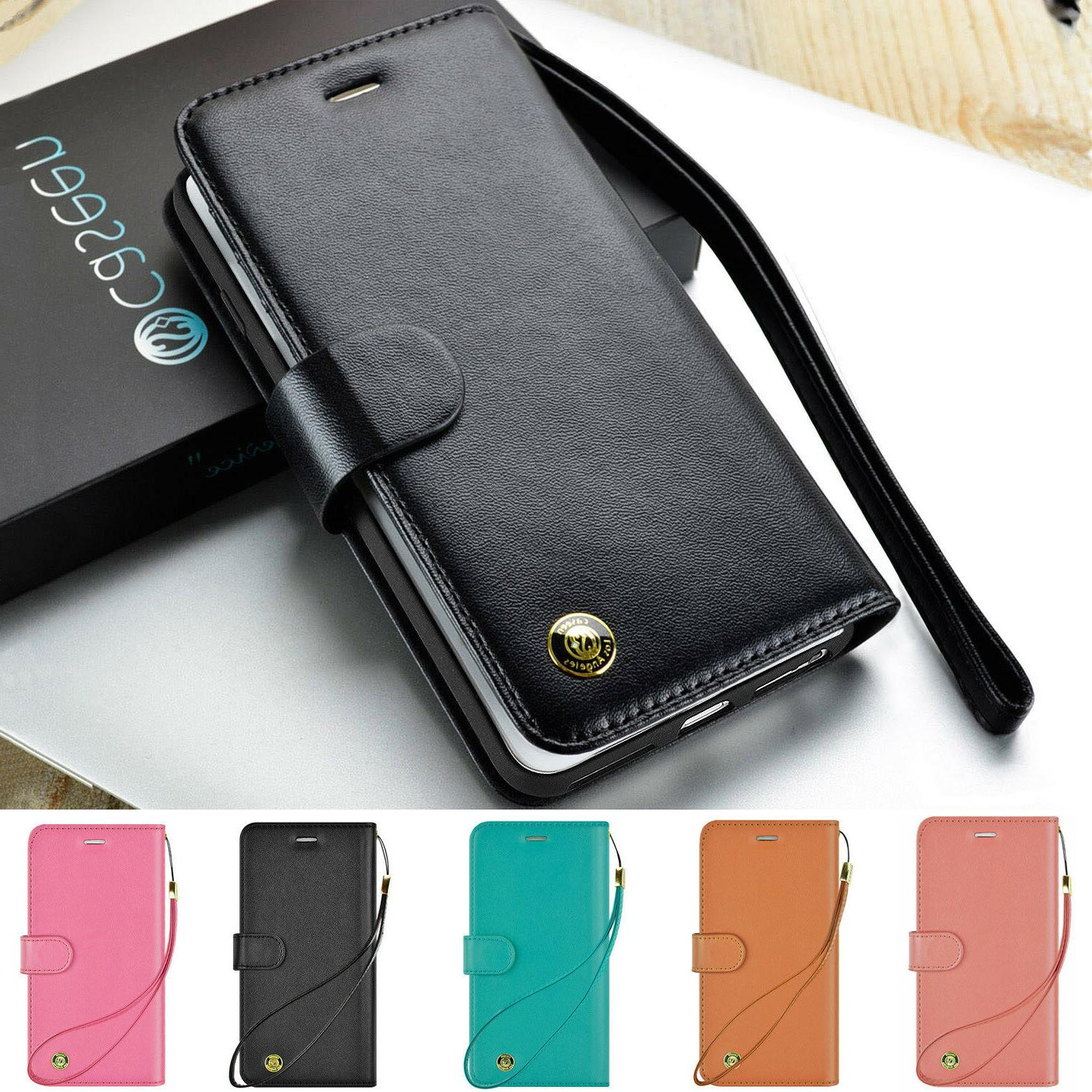luxury leather magnetic flip stand wallet case