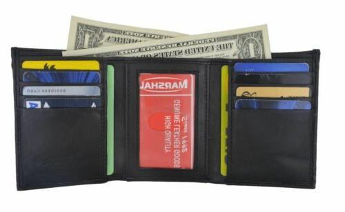 Men's Genuine Leather Trifold Wallet Black 8 Credit Card slo