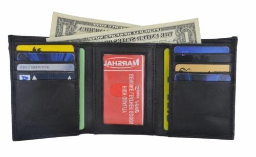 men genuine leather trifold wallet