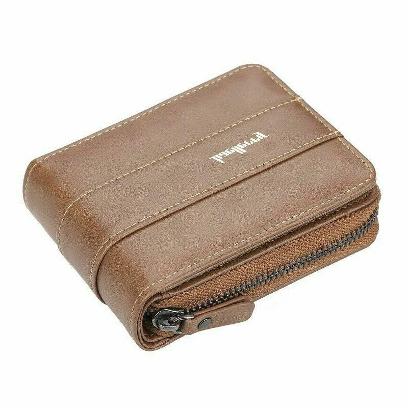 Men Leather ID Credit Clutch Bifold Coin