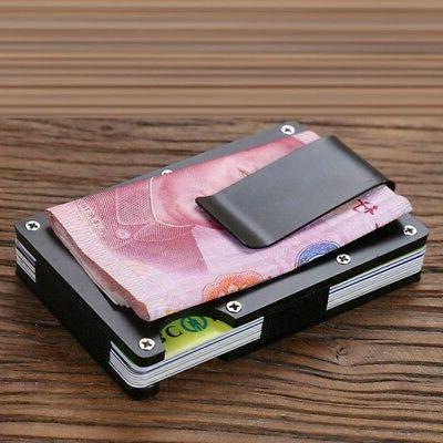 Men RFID Blocking Slim Money1 Clip Card Holder Thin Minimalist