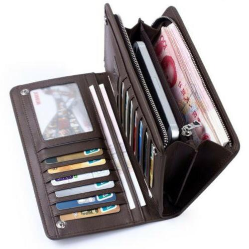 men s bifold leather zip coin long