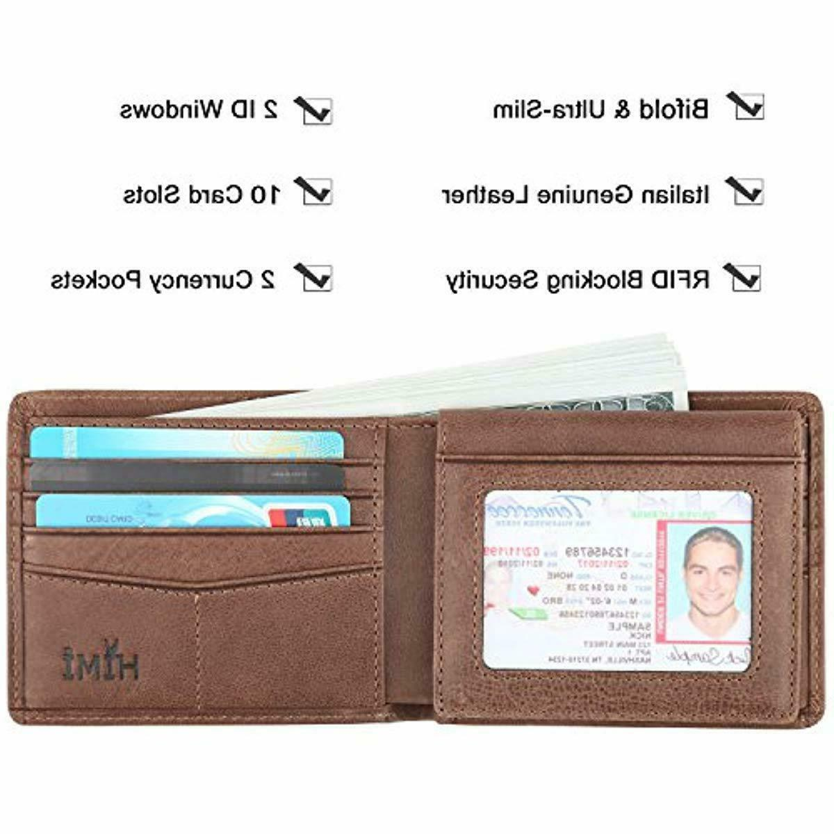 HIMI Men's Leather Soft, RFID Blocking ID Slot Coffee